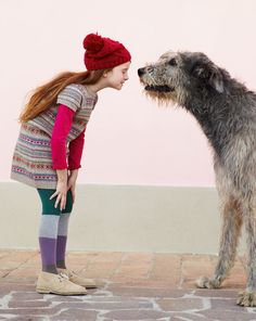 baby fashionably girl and dog