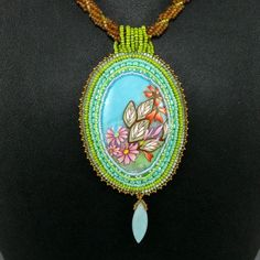 Spring Polymer Clay Pendant Necklace