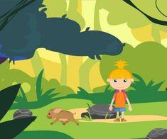 Vuorovaikutteinen animaatio kuljettaa lapset ihmettelemään viidakon eläimiä ja ottamaan niiltä mallia asentoihin, jotka vaativat rauhoittumista, keskittymistä, voimaa ja notkeutta.