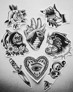 Traditional Tattoo Filler Flash, Traditional Tattoo Arm, Traditional Tattoo Old School, Traditional Ink, American Traditional, Leg Tattoos, Black Tattoos, Sleeve Tattoos, Tattoo Sketches