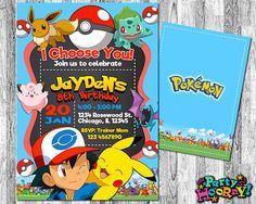 Invita Pokemon invitación cumpleaños Pokemon por PartyHooray
