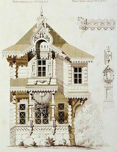 façade Wooden Architecture, Russian Architecture, Classic Architecture, Victorian Architecture, Architecture Drawings, Architecture Details, Landscape Architecture, House Sketch, House Drawing