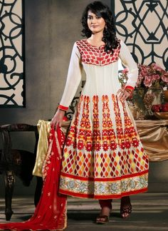 Classic #Embroidered #Georgette #Anarkali #Suit