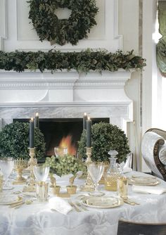 Lovely mix of white, gold & green...the perfect spot to share a meal by the fire.