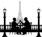 Lovely retired elderly couple drinking glass of wine in front of Eiffel tower in Paris, one in the series of similar images silhouette  Vect...