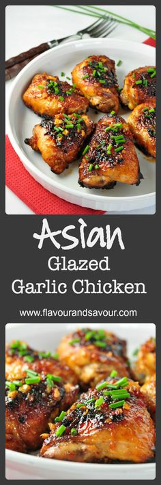 Tender, juicy chicken thighs glazed with an Asian-inspired sauce with a little heat and hints of garlic, sesame and ginger.