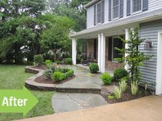 porch, before and after, front yard, makeover, stones, landscape, house, exterior