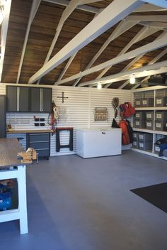 Inspiration for Garage Ceiling Ideas From inlaid lights to difficult freshen beams, metal sheeting, painted drywall and beyond, your garage ceiling can raise your look out of mere man cave to the ultimate destination upon your off hours. Garage Renovation, Garage Remodel, Garage Makeover, Attic Remodel, Garage Ceiling Storage, Attic Storage, Storage Room, Safe Storage, Storage Shelves