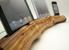 iDevice docking stations made out of repurposed Manzanita wood