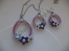 Pink and blue quilled necklace and earrings set