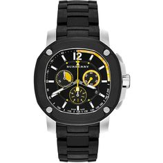 Burberry The Britain 47mm Chronograph Watch (£910) ❤ liked on Polyvore featuring men's fashion, men's jewelry, men's watches, mens chronograph watches, mens chronograph watch, mens diamond bezel watches, mens black face watches and burberry mens watches