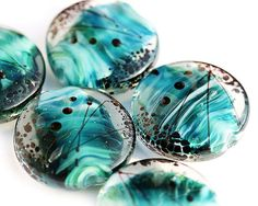 I love the craftsmanship on these, they're so beautiful! | Ocean lampwork beads  aqua blue green teal handmade by MayaHoney