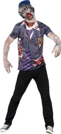 Smiffys Boys Halloween Fancy Party Dress Scary Costume Zombie School Boy T-Shirt & Cap Zombie School, School Boy, Scary Costumes, Costume Zombie, College Hoodies, Rock Tees, Oversized Tee, Warm Coat, Boys T Shirts
