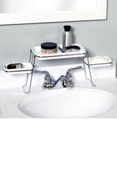 Walmart people! Small Spaces Over-The-Faucet Shelf, $14.97, available at Walmart.