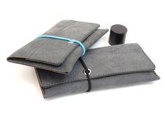 Tabakbeutel - Leder Tabaksbeutel Tabaktasche Ledertasche Grau - ein Designerstück von Monti-lederdesign bei DaWanda