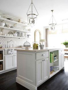 White kitchen with open shelving & white Moroccan tile backsplash. All White Kitchen, New Kitchen, Kitchen Dining, Kitchen Decor, 1970s Kitchen, Tudor Kitchen, Kitchen Ideas, Dining Table, Moroccan Tile Backsplash