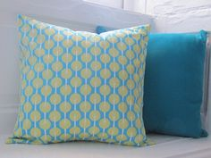 Fabulously Retro Tree Design Pillow - Bright Teal and Lime Green Tree Print Cushion. $23.00, via Etsy.