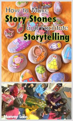 Story Stones are a Creative Way to Tell Stories and Also Offer Sensory Play Experience. Learn How to Make Story Stones and Use them to Facilitate Storytelling - driven by the kids themselves- Mommy Labs Preschool Literacy, Early Literacy, Activities For Kids, Alphabet Activities, Kindergarten Reading, Baby Kind, Story Stones, Infant Activities, Educational Activities
