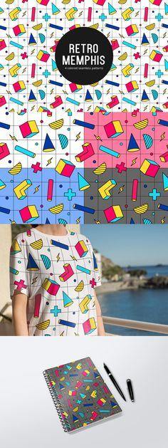 Retro memphis free seamless pattern. Free Vector Patterns, Memphis, Vector Art, Abstract Art, Presents, Textiles, Art Prints, Retro, Illustration