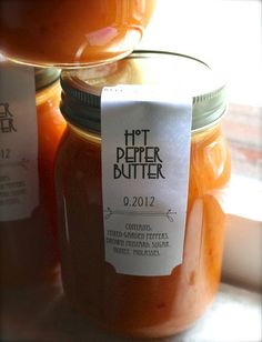 Hot Pepper Butter, a 'use on anything' condiment. In the recipe she mentions cornstarch, but has subbed clear gel for that. Homemade Chili, Homemade Butter, Homemade Pickles, Dried Vegetables, Stuffed Banana Peppers, Jelly Jars, Meals In A Jar, Canning Recipes, Canning Labels