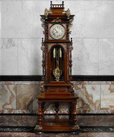 German Renaissance Revival tall case clock, c. 1870. Photo by John Faier, © The Richard H. Driehaus Museum.