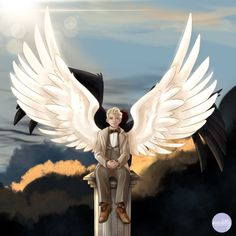 """""""Since I'm in London it also seems like a great idea to post my Good Omens fanart 😋 I recently finished watching the show and am absolutely in love with the story! Disney Channel, Cartoon Network, Old Married Couple, Good Omens Book, Terry Pratchett, Angels And Demons, Angel Art, Crowley, Book Fandoms"""