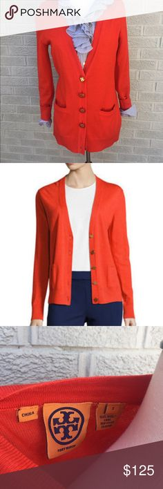 """Tory Burch Classic Cardigan with Pockets Love this classic Tory Burch Cardigan with Pockets & tonal bottoms with gold accents! Ribbed cuffs & hem. 100% wool. A staple must have!! Color is a red orange. 6 buttons. Size Small. Approximately 28"""" length. Previously loved. Some piling. Lots of love left!! B30O140043017 Tory Burch Sweaters Cardigans"""