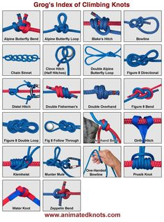 """Here is """"Grog's Index of Climbing Knots"""" !!  Any climbers here? How many of these knots are you familiar with?"""