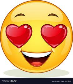 In love emoticon Royalty Free Vector Image - VectorStock Emoticon Feliz, Happy Emoticon, Emoticon Faces, Funny Emoji Faces, Smiley Emoji, Ios Emoji, Images Emoji, Emoji Pictures, Animated Emoticons