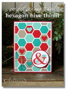 Connie Collins - awesome card - Perfect Pennants, Starburst Framelits, Hive Thinlit, Stampin' Up!, Artisan 2013