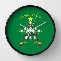 FLAT CHRISTMAS series -CHRISTMAS STAR_G Wall Clock by SEOL.D - $30.00