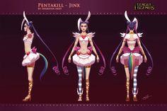 League of Legends Pentakill Jinx skin concept art turnaround by thorsten erdt