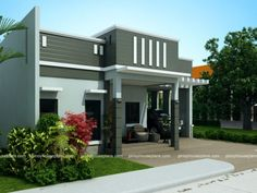 Edwardo model is a one story dream house plan with parapet design roof. The roof composition is steel trusses with long span ribbed-type pre-painted G. House Outer Design, House Roof Design, House Outside Design, Bungalow House Plans, Bungalow House Design, House Floor Plans, New Model House, Philippines House Design, Philippine Houses