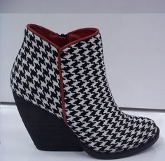 Alabama houndstooth demi-wedge bootie by Very Volatile. $59.99