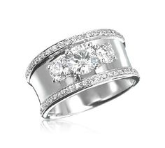 Wide Band Diamond Wedding and Engagement Rings