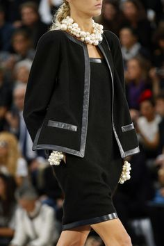 Chanel Spring 2013 black jacket dress trimmed with silver leather