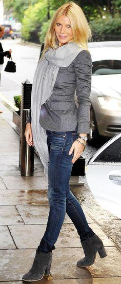 Gwyneth Paltrow style- grey blazer/scarf