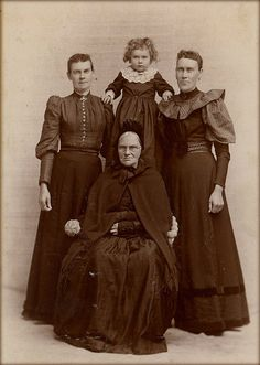 What a cheerful family photo! 1890's American gothic cabinet card.