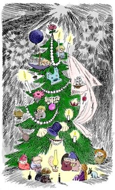 The Fir Tree, from Tales from Moominvalley - Tove Jansson , 1962 Finnish , Illustration Noel Christmas, All Things Christmas, Winter Christmas, Vintage Christmas, Tove Jansson, Christmas Illustration, Illustration Art, Illustrations, Moomin Valley
