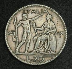 Italian silver coins 20 Lire Silver Coin