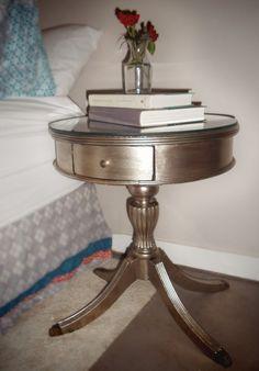 diy metallic furniture. diy antiqued silver end table diy metallic furniture