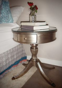 DIY Antiqued Silver End Table