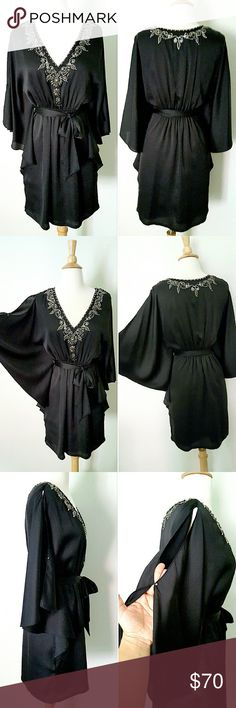 "⬇TODAY ONLY⬇WHBMarket Kimono Dress Stunning Kimono Dress with embellished neckline, open bat sleeves and bow belt. Absolutely gorgeous rhinestones and sequins detail all through the V-neckline. Fully lined, 100% polyester. Size is XS but can also work for S. Fits a size 2 or 4 perfectly. 14"" shoulder to shoulder,  12.5"" waist  (but has elastic band) approx. 35"" long shoulder to bottom hem.  Worn once,  in excellent LIKE NEW condition. White House Black Market Dresses Midi"