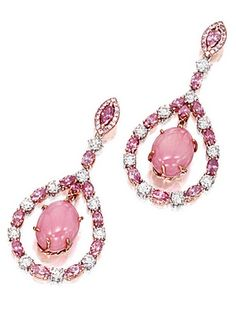 PAIR OF CONCH PEARL, PINK DIAMOND AND DIAMOND PENDENT EARRINGS