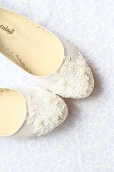 Wedding Flat Shoes Ivory Satin Bridal Ballet Flats by demetoloji, $82.15