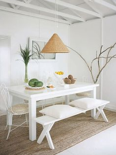 summer hous, dining rooms, interior, cottag, benches, dining room tables, beach hous, flea markets, white