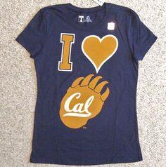 NEW $19.94 Womens I HEART CAL TEE Navy Blue Golden Bears California Love T-Shirt #UniversityT #California