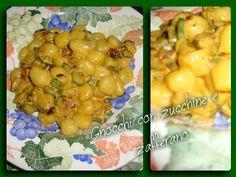 Gnocchi con zucchine e zafferano Ingredienti per 3 persone: 1/2 cipolla rossa di Tropea 500 gr di gnocchi di patate 100 ml di panna vegetale 4 zucchine romane olio evo 1 bustina di zafferano…