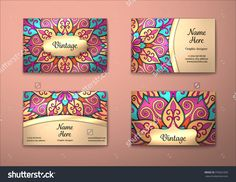 Vector Vintage Visiting Card Set. Floral Mandala Pattern And Ornaments. Oriental Design Layout. Islam, Arabic, Indian, Ottoman Motifs. Front Page And Back Page. - 376652305 : Shutterstock