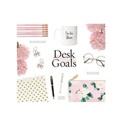 Desk Goals: Pretty Workspaces by catchsomeraes on Polyvore featuring interior, interiors, interior design, ホーム, home decor, interior decorating, ban.do, Kate Spade, National Tree Company and Cross